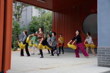 A local dance group rehearses routines at one of the pump gates in Fuzhou most mornings.